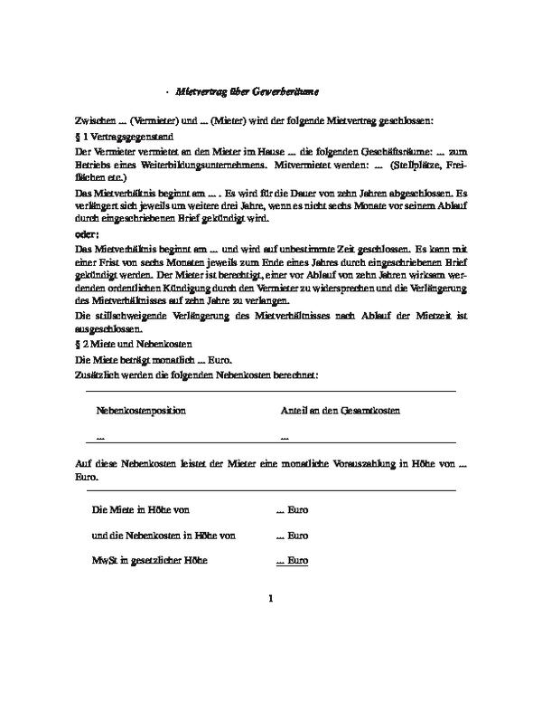 Mietvertrag für Trainerbüros und Seminarräume