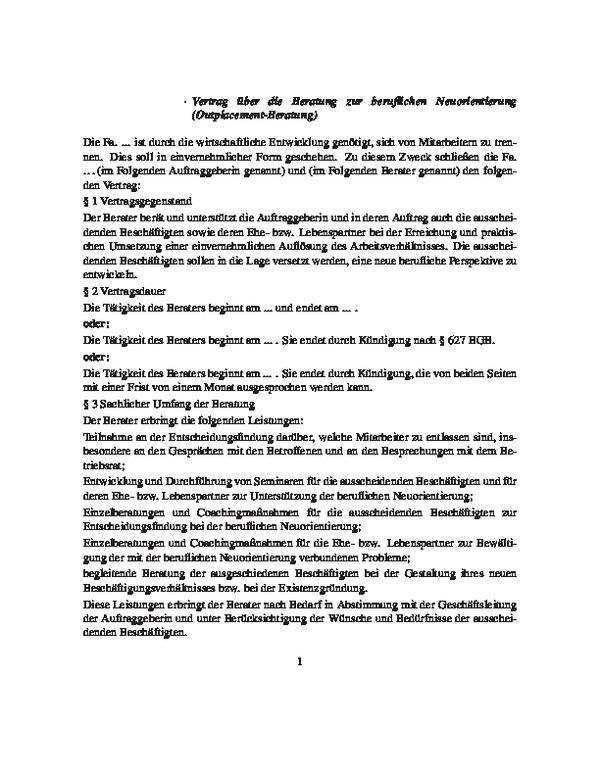 Vertrag über Eine Outplacement Beratung