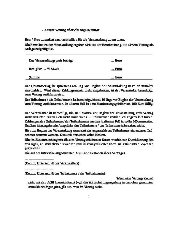 Kurzer Vertrag für ein Tagesseminar