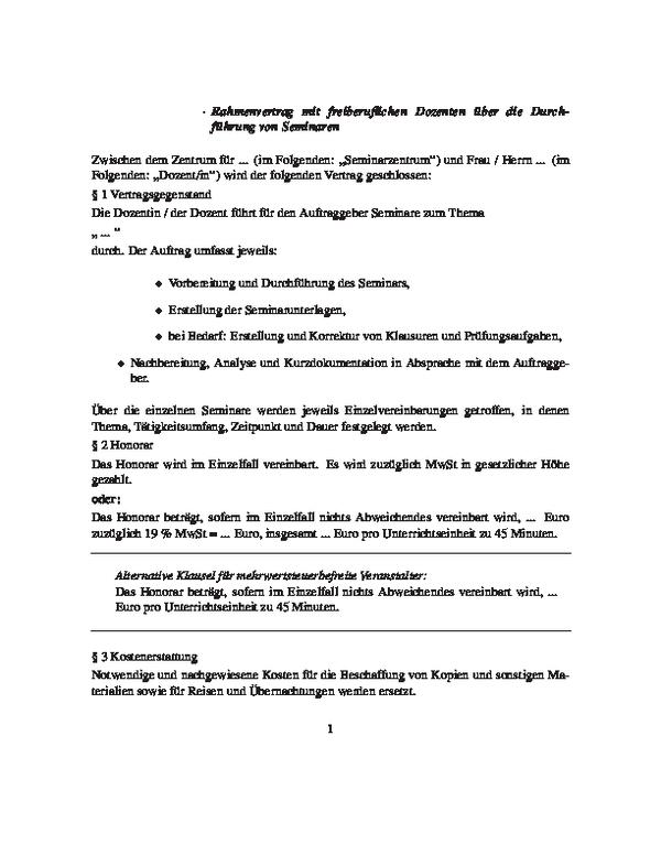 Rahmenvertrag Mit Einem Freiberuflichen Dozenten über Die
