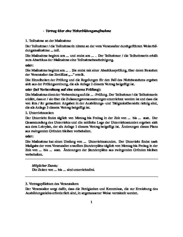 Vertrag über eine Weiterbildungsmaßnahme
