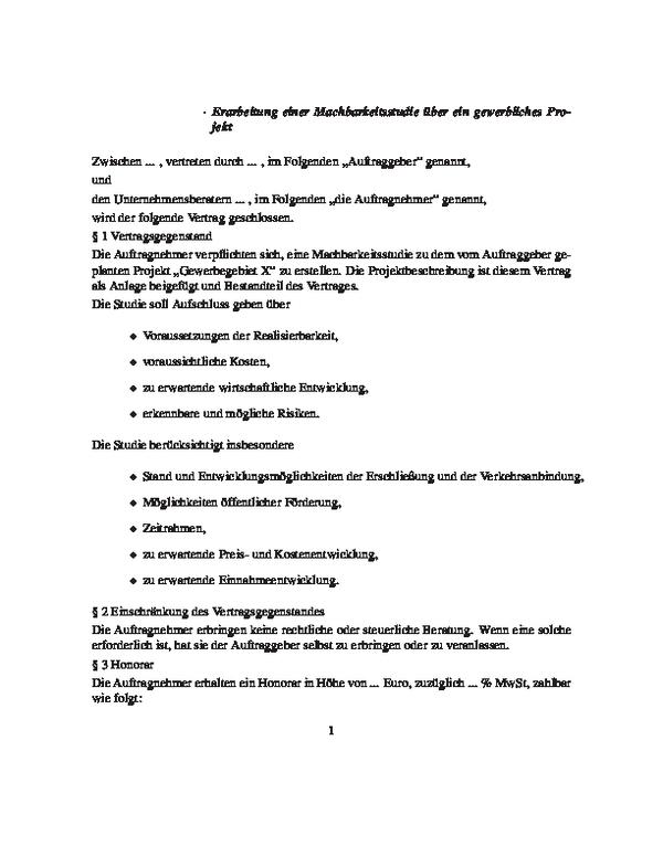 Vertrag über Eine Erarbeitung Einer Machbarkeitsstudie über Ein