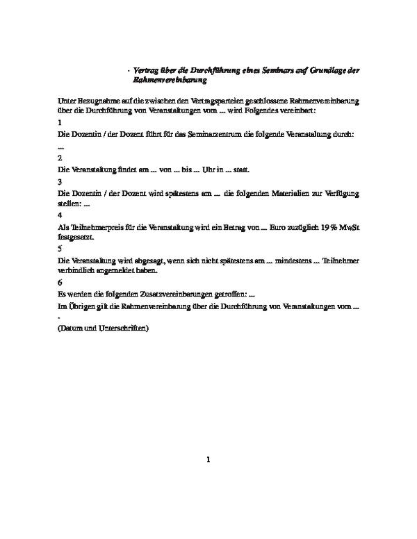 Vertrag über ein Seminar auf Grundlage der Rahmenvereinbarung
