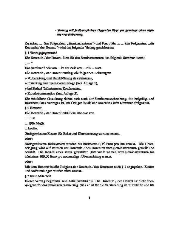 honorarvertrag mit einem freiberuflichen dozenten ber ein seminar - Muster Honorarvertrag
