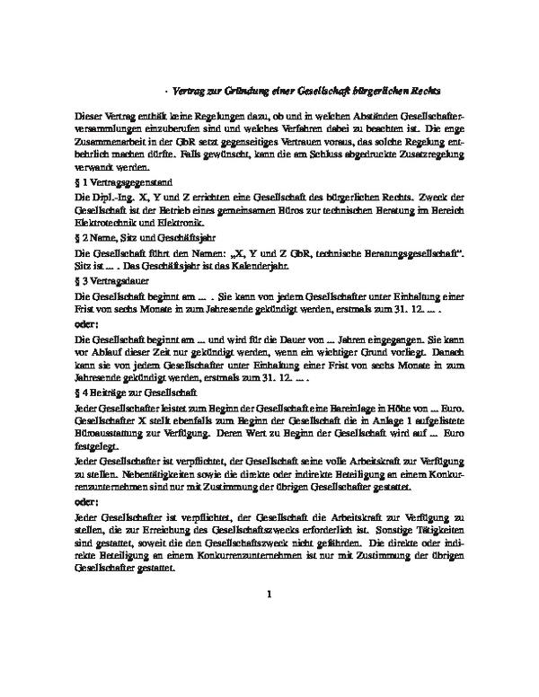 Vertrag über Die Gründung Einer Gbr