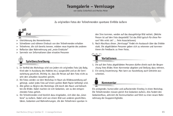 Trainingsspiel: Teamgalerie-Vernissage