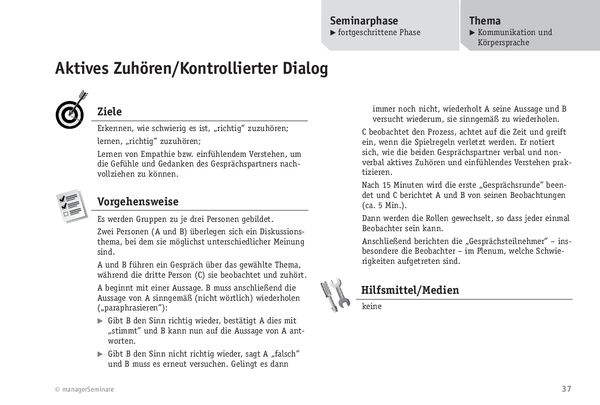 trainingsbung aktives zuhrenkontrollierter dialog - Aktives Zuhoren Beispiele