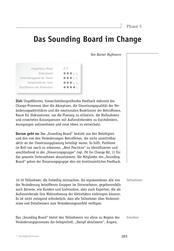 Change-Tool: Das Sounding Board im Change