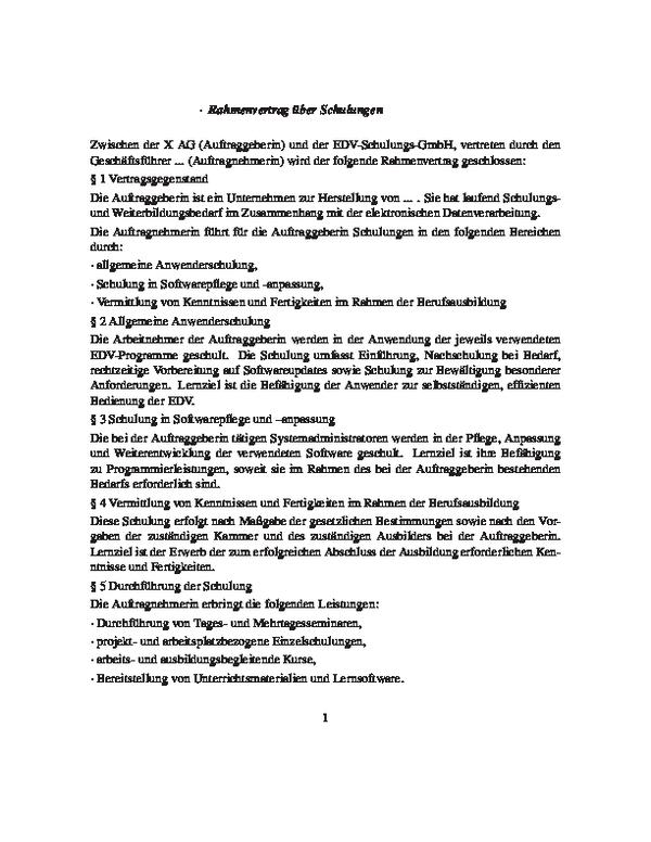 Rahmenvertrag über Schulungen Inkl Einzelvereinbarung