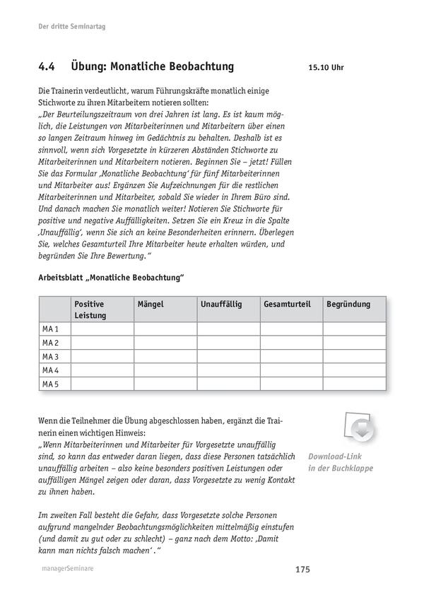 Übung zur Mitarbeiterbeurteilung: Monatliche Beobachtung