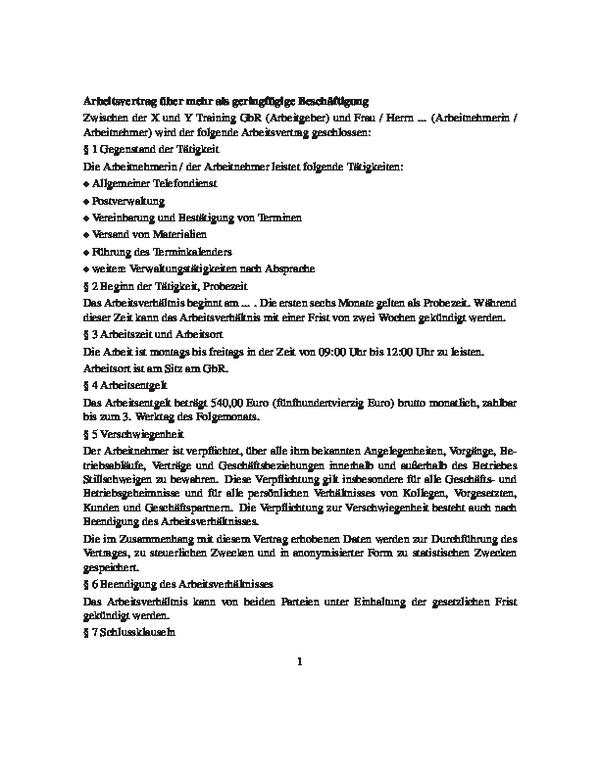 Arbeitsvertrag über Mehr Als Geringfügige Beschäftigung