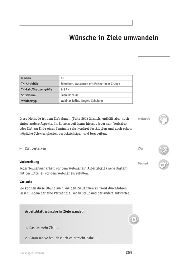 Webinar-Methode: Wünsche in Ziele umwandeln