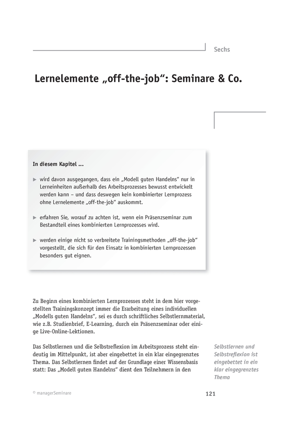 Lerntransfer: Lernelemente 'off-the-job'