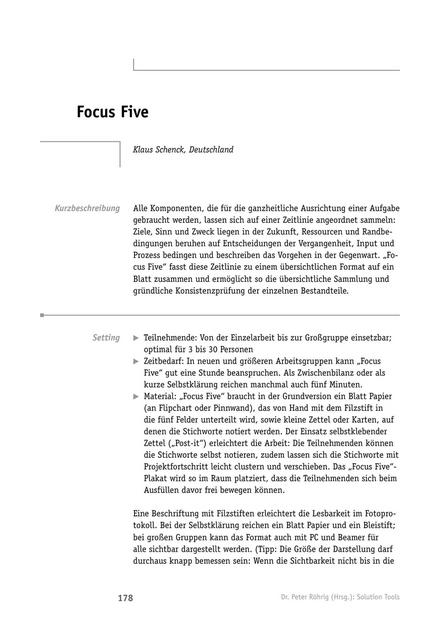 Solution-Tool: Focus Five